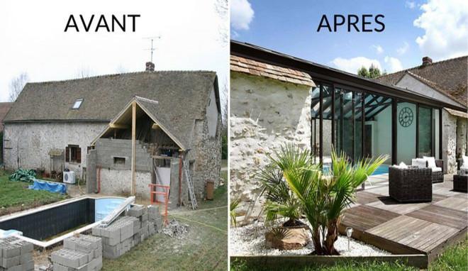 Résultats avant/après des travaux de rénovation dans une maison ancienne